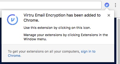 popup: Virtru Email Encryption has been added to Chrome