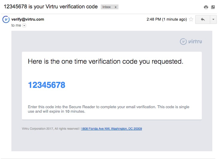 Email states Here is teh one time verification code that you requested. Code is listed below.
